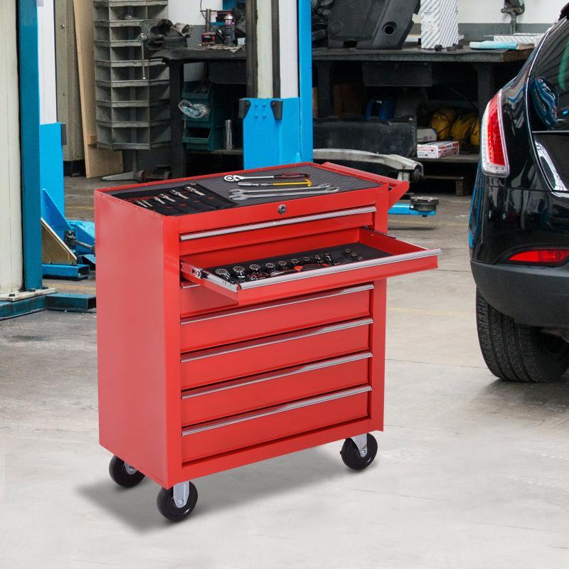 Durhand Y Hogar Con Tipo Rojo Taller Chapa De Almacenamiento 69x33x77 Caja Carro Mueble Para Acero Garaje Ruedas Cerradura Herramientas rBoWCxed