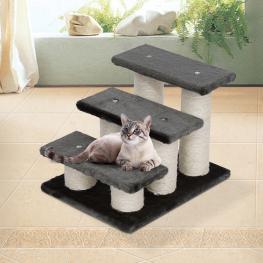 Escalera Para Mascotas 3 Niveles Rascador Gatos<br> - Color: Crema y Cafe