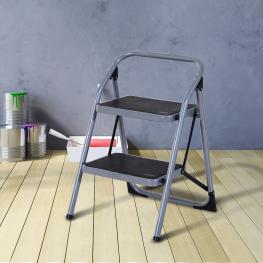 Escalera Plegable Taburete Escabel Homcom  - Color: Plateado