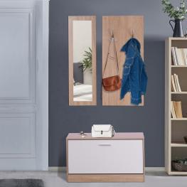 Homcom® 3 En 1 Conjunto de Muebles de Entrada Recibidor Pasillo Set de 3 Piezas Perchero Espejo Zapatero Madera<br> - Color: Madera Natural y Blanco