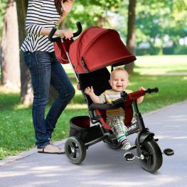 Homcom® 3 En 1 Triciclo Para Niños +18 Meses Rojo 96X53.5X101Cm Rojo - Color: Rojo
