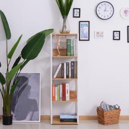 Homcom® 5 Niveles Estantería de Madera Para Baño Salón Multifuncional Librería Organizador 40X35X143.5Cm<br> - Color: Blanco y Madera