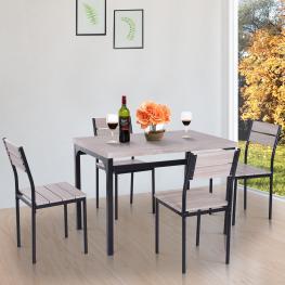 Homcom® 5 Piezas Conjunto de Mesa y 4 Sillas de Comedor Juego Muebles de Cocina Sala Madera y Metal Color Negro y Madera Natural - Color: Negro y Made