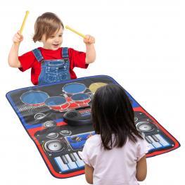 Homcom® Alfombra Musical de Juego Tapete Musical Piano y Batería 2 En 1 Para Niños +3 Años Alfombra de Teclado Táctil 90X69Cm<br> - Color: No