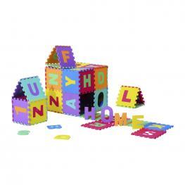 Homcom® Alfombra Puzle 186X186Cm Niños 3 Años 36 Piezas Numeros 0 Al 9 y 26 Letras Alfabeto Goma Espuma - Color: Multicolor