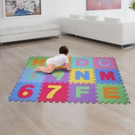 Homcom® Alfombra Puzle 192X192 Cm Niños 3 Años 36 Piezas Numeros 0 Al 9 y 26 Letras Alfabeto Goma Espuma - Color: Multicolor