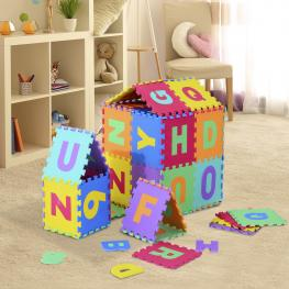 Homcom® Alfombra Puzle Para Niños 36Pcs 3.34㎡ Números 0-9 y 26 Letras -