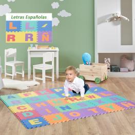 Homcom® Alfombra Puzzle Colchoneta Suave Juego Rompecabezas Para Niños 2.7㎡ Letras Abecedario Goma Espuma Eva<br> - Color: No