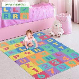 Homcom® Alfombra Puzzle Para Niños 3.6㎡ Letras Abecedario y Números 0-9  - Color: Multicolor
