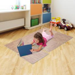Homcom Alfombra Puzzle Para Niños O Gimnasio Color Marrón Goma Espuma Eva 60 X 60 X 1Cm<br> - Color: Marron