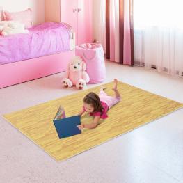 Homcom Alfombra Puzzle Para Niños O Gimnasio Color Madera Goma Espuma Eva 9 Metros Cuadrados<br> - Color: Madera