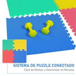 Homcom® Alfombras Puzzle Para Bebes 3 Años Goma Espuma Eva 8 Piezas Alfombra Puzzle Niños 2'88 M2  - Color: Multicolores