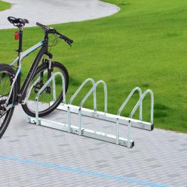 Homcom Aparcamiento 3 Bicicletas Acero Plateado 70,5X33X27Cm - Color: Plateado
