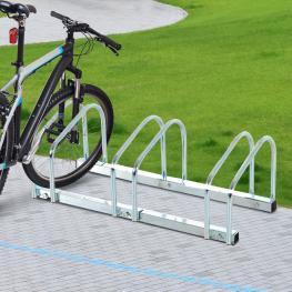 Homcom® Aparcamiento 3 Bicicletas Soporte Aparcar Bici Suelo y Pared Garaje Almacenamiento Acero Plateado 70,5X33X27Cm  - Color: Plateado