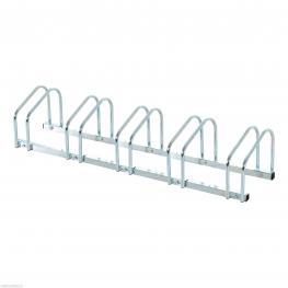 Homcom® Aparcamiento 5 Bicicletas Soporte Aparcar Bici Suelo y Pared Garaje Almacenamiento Acero Plateado 130X33X27Cm  - Color: Plateado