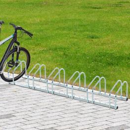 Homcom Aparcamiento Para 6 Bicicletas Tipo Soporte de Bicis Para Pared O Suelo Material de Acero<br> - 160X33X27Cm<br> - Color: Plateado