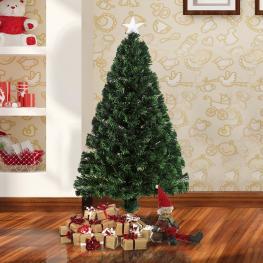 Homcom árbol de Navidad Artificial Con Fibra óptica φ60X120Cm + 16 Led de 3 Colores Perfecto Para Decoración Navidad<br> - Color: Verde