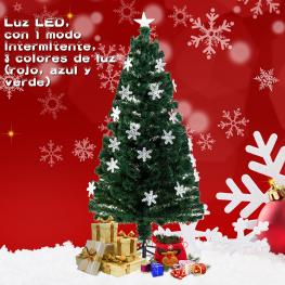 Homcom Arbol de Navidad Artificial Con Fibra óptica Verde φ60X150Cm + Adornos de Luces Led Incluidos  - Color: Verde