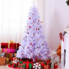 Homcom Arbol de Navidad Blanco φ105X180Cm Arbol Artificial Grande Blanco Con Adornos Incluidos  - Color: Blanco