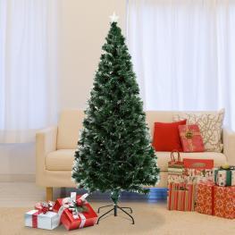 Homcom Arbol de Navidad Grande de Fibra óptica Altura 180 Cm + Estrella y Luces de 7 Colores Arboles Artificial φ84X180Cm<br> - Color: Verde
