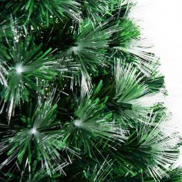 Homcom Arbol de Navidad Grande de Fibra óptica Altura 180 Cm + Estrella y Luces de 7 Colores Arboles Artificial φ84X180Cm  - Color: Verde