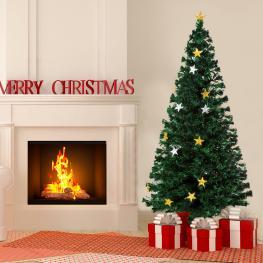Homcom árbol de Navidad Grande Verde φ80X180Cm árbol de Fibra óptica Con Led y Adornos Incluidos  - Color: Verde