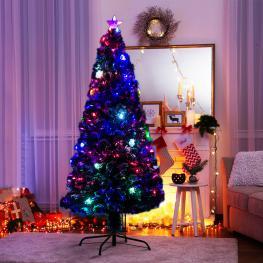 Homcom Arbol de Navidad Nevado Grande 180Cm Verde Pvc φ82X180Cm Con Luces Led Incluidas  - Color: Verde