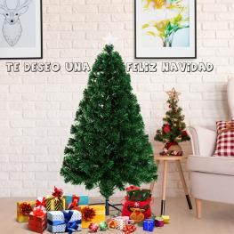 Homcom Arbol de Navidad Pequeño Con Fibra óptica φ60X120Cm + Luces Led Incluidas Arbol Artificial Verde<br> - Color: Verde