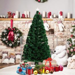 Homcom Arbol de Navidad Verde Fibra óptica φ60X150Cm + Luces Led Perfecto Para Decoración Navidad  - Color: Verde