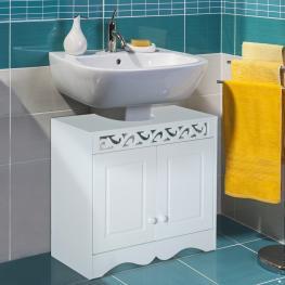 Homcom Armario de Baño Bajo Para Lavabo Con 2 Puertas y Estantes<br> - Blanco<br> - 60X30X56Cm<br> - Color: Blanco