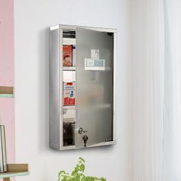 Homcom Armario de Medicinas Botiquín Gabinete de Primero Auxilios Acero Inox 3 Estantes Caja Colgante de Pared Con Cerradura 25X12X48Cm - Color: No