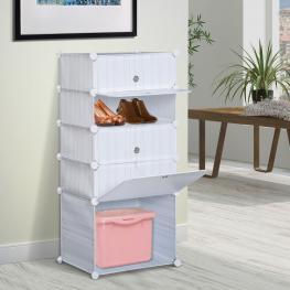 Homcom Armario Modular Plástico Estantería 5 Cubos Ropero Zapatero Aparador Combinado Mueble Organizador Ropa Zapatos Accesorios Juguetes  - Color: Bl