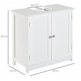 Homcom® Armario Para Baño Armario Para Debajo del Lavabo O Fregadero Tipo Gabinete de Almacenaje de Madera Blanca 60X30X60Cm  - Color: Blanco