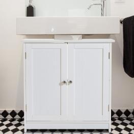 Homcom® Armario Para Baño Gabinete de Almacenaje Blanco Madera 60X30X60Cm  - Color: Blanco