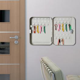 Homcom® Armario Para Llaves 45 Ganchos Caja de Llaves de Pared Acero 30X24X7.5Cm - Color: Beige