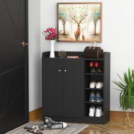 Homcom® Armario Zapatero Madera 2 Puertas 4 Estantes 83X30X90Cm  - Color: Negro