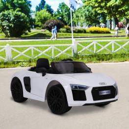 Homcom® Audi R8 Blanco Coche Eléctrico Para Niños Mayores de 3 Años<br> - Color: Blanco