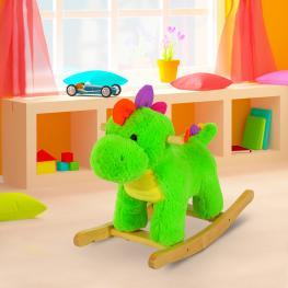 Homcom Balancin Bebe Dinosaurio Tela 61X23X43Cm<br> - Color: Verde