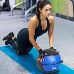 Homcom Balón Medicinal de Crossfit 6Kg Con Asas Tipo Pelota de Ejercicios de Cuero y Pu Ф35Cm - Color: Azul y Negro