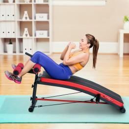 Homcom® Banco de Musculación Banco Abdominal Pesas Estiramiento de Brazos Multifuncional - 140X73X57Cm - Color: Negro y Rojo