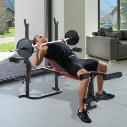 Homcom Banco de Musculación Con Respaldo Ajustable Carga 150Kg Acero - 105X150X112Cm - Color: Naranja y Rojo