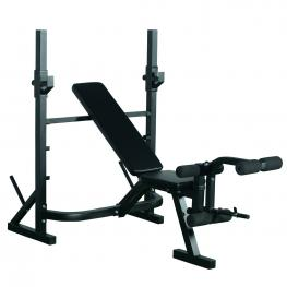 Homcom® Banco de Pesas Para Entrenamiento y Musculación Color Negro Acero Pvc Eva - 175 X 98 X 130 Cm - Color: Negro