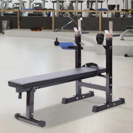 Homcom® Banco de Pesas Plegable Máquina de Musculación Multifunción Negro Cuero y Acero 124X56X90-111Cm<br> - Color: Negro