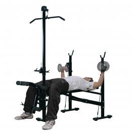 Homcom® Banco de Pesas Reclinable Multifunción Para Entrenamiento y Musculación 175X110X202 Cm<br> - Color: Negro