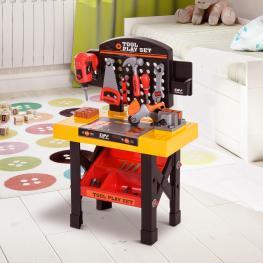 Homcom® Banco de Trabajo Para Niños Herramientas de Juguete 53 Piezas 50X26X75Cm  - Color: Amarillo y Negro