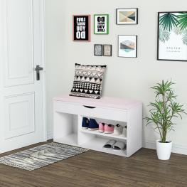 Homcom® Banco Zapatero de Entrada Para Almacenamiento Con Cajón y Estantes y 1 Cojín Muy Moderno de Madera 80X30X47Cm<br> - Color: Blanco