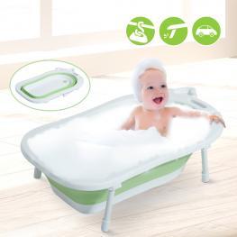 Homcom Bañera Para Bebé y Niño Para Baño Infantil<br> - Plegable Portátil y Segura<br> - Material Pp + Tpe<br> - Color Blanco y Verde – 89 X 53.5 X 22