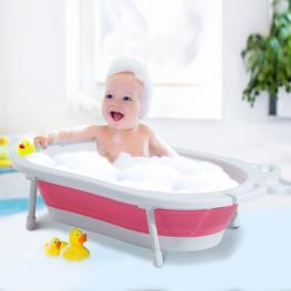Homcom Bañera Para Bebé y Niño Para Baño Infantil - Plegable Portátil y Segura - Material Pp + Tpe - Color Blanco y Rosa €� 89 X 53.5 X 22Cm - Color: B