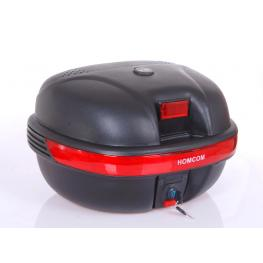 Homcom Baul Moto Universal 35L Con Llaves y Soporte Caja de Moto Negro - 44.5X37.5X27Cm - Color: Negro