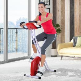 Homcom® Bicicleta de Fitness Plegable Asiento Ajustable Resistencia Regulable A 8 Niveles Carga 110Kg 83X43X110Cm Acero Blanco -